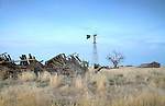 Washington, Ritzville. An abandoned and fallen homestead with windmill in the countryside near Ritzville.