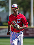 9 March 2014: Washington Nationals outfielder Michael Taylor returns to the dugout during a Spring Training game against the St. Louis Cardinals at Space Coast Stadium in Viera, Florida. The Nationals defeated the Cardinals 11-1 in Grapefruit League play. Mandatory Credit: Ed Wolfstein Photo *** RAW (NEF) Image File Available ***