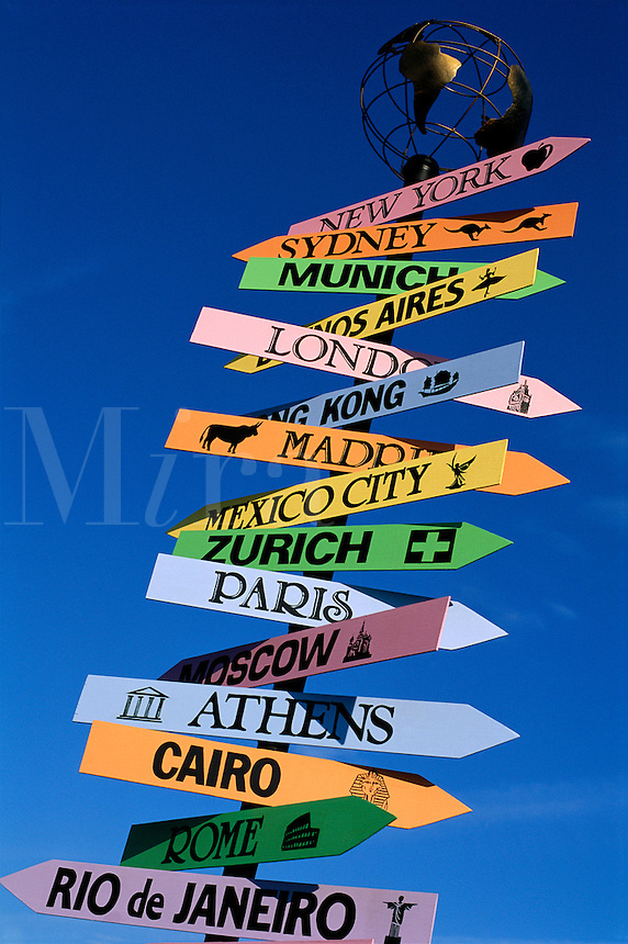 Signpost with cities of the world