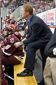 Patrick Wey (BC - 6), Greg Brown (BC - Assistant Coach) - The Boston College Eagles defeated the Boston University Terriers 4-1 on Saturday, December 5, 2009, at Agganis Arena in Boston, Massachusetts.