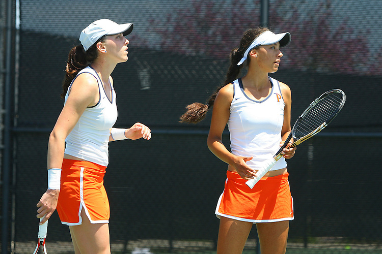 April 23, 2011; San Diego, CA, USA; Pepperdine Waves doubles Arianna Colffer and Ali Walters during the championship round of the WCC Tennis Championships at the Barnes Tennis Center.