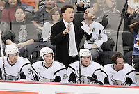 San Antonio Rampage head coach Chuck Weber yell to his players during the third period of an AHL hockey game against the Texas Stars, Saturday, Oct. 13, 2012, in San Antonio. Texas won 2-1. (Darren Abate/pressphotointl.com)