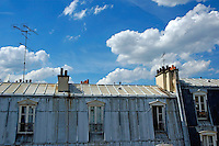 Rooftop of a building against a cloudy sky, Paris, France.