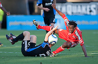 Amadou Sanyang (right) falls battling Brad Ring (left) for the ball. Toronto FC defeated the San Jose Earthquakes 3-1 at Buck Shaw Stadium in Santa Clara, California on May 29th, 2010.