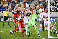 Luke Rodgers (9) of the New York Red Bulls attempts to score in first half stoppage time during a Major League Soccer (MLS) match against Toronto FC at Red Bull Arena in Harrison, NJ, on July 06, 2011.