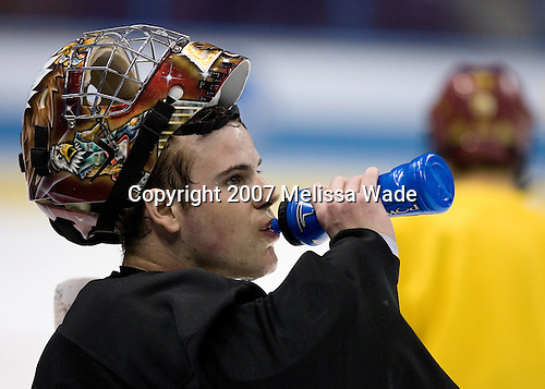 Adam Reasoner (Boston College - Honeoye Falls, NY) takes part in the Boston College Eagles' practice on Friday, April 6, 2007, at the Scottrade Center in St. Louis, Missouri in preparation for the 2007 Frozen Four Final on April 7.