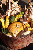 Traditional Hungarian Harvest Festival vegetales displayed  in a basket