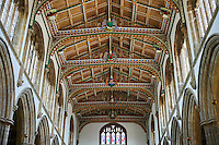 15th century Gothic wooden painted angel roof, restored in 1963, of the Church of St Cuthbert, Wells, Somerset, England