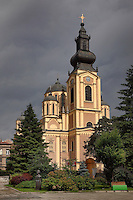 Cathedral Church of the Nativity of the Theotokos, built 1863-68 by  Andreja Damjanov during the Ottoman empire, with its separate belfry in front, Sarajevo, Bosnia and Herzegovina. The city was founded by the Ottomans in 1461. Picture by Manuel Cohen