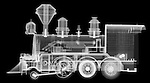 X-ray image of a steam locomotive (white on black) by Jim Wehtje, specialist in x-ray art and design images.