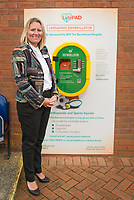 Samantha Sheehan, Executive Director of BMI Healthcare's Beardwood Hospital at a ceremony marking the sponsorship of a Defibrillator unit by BMI Healthcare at Ewood Park, home of Blackburn Rovers FC.