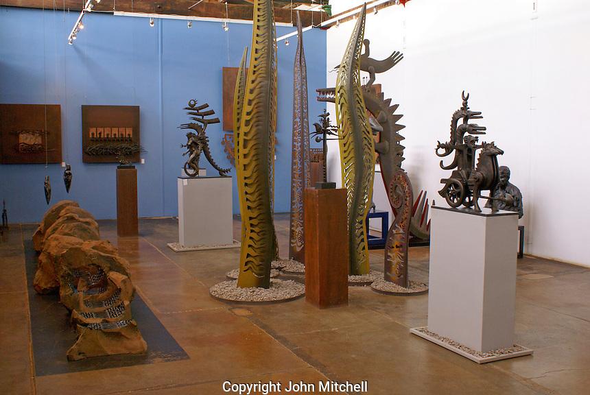 Sculpture gallery in Fabrica La Aurora Art and Design Center, San Miguel de Allende, Mexico. San Miguel de Allende is a UNESCO World Heritage Site....