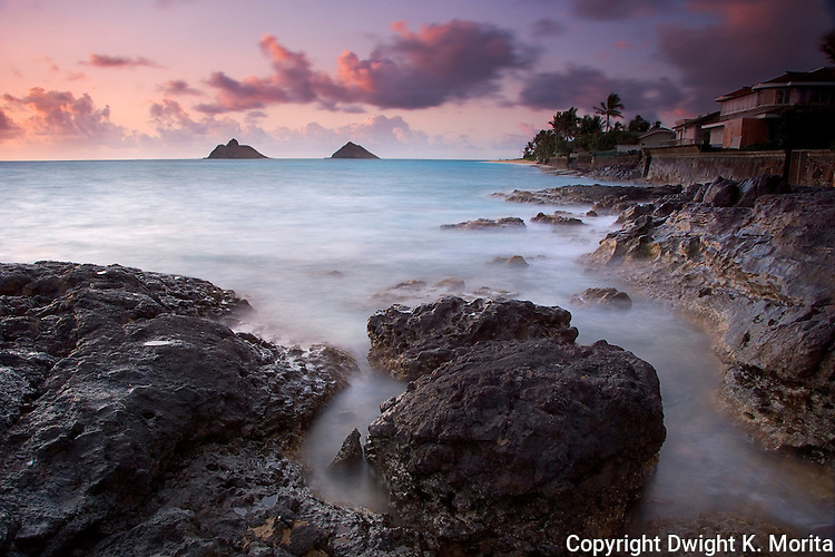"View of Lanikai beach and Mokulua Islands from Lanikai Point at sunrise. This photo won Hawaii Magazine's 2007 ""Aina"" category award."