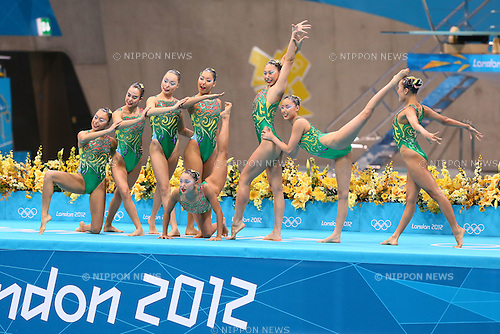 Japan team group (JPN), .AUGUST 10, 2012 - Synchronized Swimming : .Women's Teams Free Routine Final .at Olympic Park - Aquatics Centre .during the London 2012 Olympic Games in London, UK. .(Photo by YUTAKA/AFLO SPORT) [1040]
