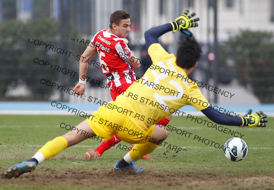 Fudbal season 2013-2014<br /> FK Crvena Zvezda pripreme Portoroz-Koper<br /> Crvena Zvezda v Ankaran<br /> Luka Milunovic (L) scores the goal<br /> Koper 01.23.2014.<br /> foto: Srdjan Stevanovic/Starsportphoto &copy;