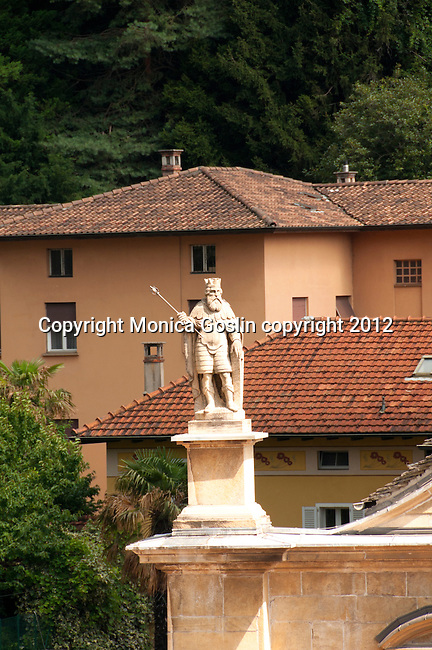 A statue on the Church of Saint Peter in Bellinzona, Switzerland
