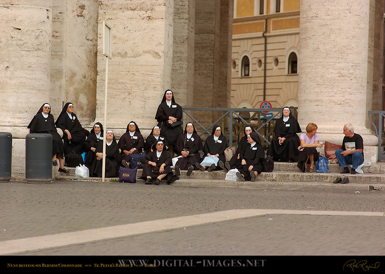 Nuns resting on Bernini Colonnade St Peter's Basilica Rome