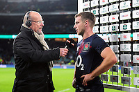 George Ford of England is interviewed after the match. Old Mutual Wealth Series International match between England and Fiji on November 19, 2016 at Twickenham Stadium in London, England. Photo by: Patrick Khachfe / Onside Images