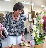 Taster sessions, this one for Flower Arranging, wer held at the same time as the opening of an exhibition of students' work, Harvey Gallery, Adult Learning Centre, Guildford, Surrey.
