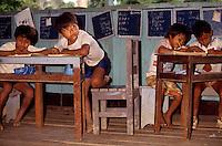 Indigenous school, acculturated Tikuna Indigenous People, Umariaçú community, Amazon rainforest, Amazonas State, Brazil.