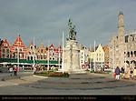 Jan Breydel and Pieter de Coninck, Heroes of the Battle of the Golden Spurs, Restaurants and Neogothic Ministry of Public Works, Market Square, Bruges, Brugge, Belgium