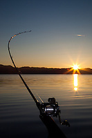 """Sunrise Fishing on Lake Tahoe 2"" - This trolling fishing pole was photographed at sunrise on Lake Tahoe."