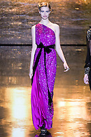 Hailey Clauson walks runway in an outfit from the Badgley Mischka Fall 2011 fashion show, during Mercedes-Benz Fashion Week Fall 2011.