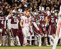 The tenth ranked South Carolina Gamecocks host the 6th ranked Clemson Tigers at Williams-Brice Stadium in Columbia, South Carolina.  USC won 31-17 for their fifth straight win over Clemson.  USC bench and players celebrate a fumble recovery