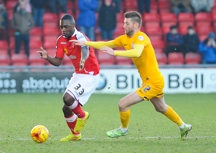 Crewe Alexandra's Anthony Stewart holds off the challenge from Preston North End's Paul Gallagher<br /> <br /> Photographer Craig Thomas/CameraSport<br /> <br /> Football - The Football League Sky Bet League One - Crewe Alexandra v Preston North End - Sunday 28th December 2014 - Alexandra Stadium - Crewe<br /> <br /> &copy; CameraSport - 43 Linden Ave. Countesthorpe. Leicester. England. LE8 5PG - Tel: +44 (0) 116 277 4147 - admin@camerasport.com - www.camerasport.com