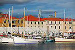 Fishing boats in Victoria Dock, alongside historic Hunter Street.  Sullivan's Cove, Hobart, Tasmania, AUSTRALIA