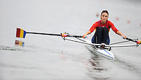 Ottensheim, AUSTRIA.  ROU JW1X, Mihaela PETRILA, moves away from the star pontton in her morning semi-final, at the 2008 FISA Senior and Junior Rowing Championships,  Linz/Ottensheim. Friday,  25/07/2008.  [Mandatory Credit: Peter SPURRIER, Intersport Images] Rowing Course: Linz/ Ottensheim, Austria