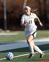 College of St Rose forward Kelly Johnson (11) brings the ball forward. . In 2012 NCAA Division II Women's Soccer Championship Tournament First Round, College of St Rose (white) defeated Wilmington University (black), 3-0, on Ronald J. Abdow Field at American International College on November 9, 2012.
