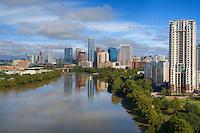 Flying high above Lady Bird Lake, my camera captured this morning image of the downtown Austin skyline on a perfect October morning.