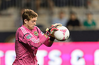 Philadelphia Union goalkeeper Zac MacMath (18) makes a save. The Philadelphia Union defeated Toronto FC 1-0 during a Major League Soccer (MLS) match at PPL Park in Chester, PA, on October 5, 2013.