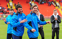 Lincoln City manager Danny Cowley and Nicky Cowley celebrate the victory<br /> <br /> Photographer Andrew Vaughan/CameraSport<br /> <br /> Vanarama National League - Gateshead v Lincoln City - Monday 17th April 2017 - Gateshead International Stadium - Gateshead <br /> <br /> World Copyright &copy; 2017 CameraSport. All rights reserved. 43 Linden Ave. Countesthorpe. Leicester. England. LE8 5PG - Tel: +44 (0) 116 277 4147 - admin@camerasport.com - www.camerasport.com