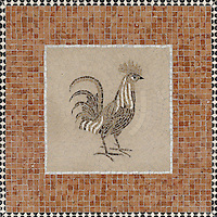 Mosaic tile pattern custom Rooster Sign for the Ferry Building San Francisco, CA
