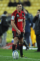 Dan Carter prepares to take a penalty attempt from the sideline. Super 15 rugby match - Crusaders v Hurricanes at Westpac Stadium, Wellington, New Zealand on Saturday, 18 June 2011. Photo: Dave Lintott / lintottphoto.co.nz