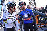 World Champion Peter Sagan (SVK) Bora-Hansgrohe greets Damiano Cunego (ITA) BMC Racing Team wearer of the race leader's Maglia Azzurra at sign on before the start of stage 2 of the 2017 Tirreno Adriatico running 229km from Camaiore to Pomarance, Italy. 9th March 2017.<br /> Picture: La Presse/Gian Mattia D'Alberto | Cyclefile<br /> <br /> <br /> All photos usage must carry mandatory copyright credit (&copy; Cyclefile | La Presse)