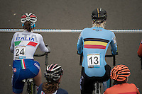 Ellen Van Loy (BEL/Telenet-Fidea) next to Eva Lechner (ITA) on the start grid<br /> <br /> Women's Race<br /> UCI 2017 Cyclocross World Championships<br /> <br /> january 2017, Bieles/Luxemburg