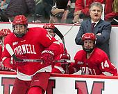 Jared Fiegl (Cornell - 18), Mike Schafer (Cornell - Head Coach), Mitch Vanderlaan (Cornell - 14) - The Harvard University Crimson defeated the visiting Cornell University Big Red on Saturday, November 5, 2016, at the Bright-Landry Hockey Center in Boston, Massachusetts.