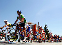 The peloton moves through Dawsonville, Ga. during Stage 6 of the Ford Tour de Georgia.<br />