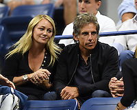 FLUSHING NY- SEPTEMBER 06: Christine Taylor and Ben Stiller are seen watching Novak Djokovic Vs Jo Wilfred Tsonga on Arthur Ashe Stadium at the USTA Billie Jean King National Tennis Center on September 6, 2016 in Flushing Queens. Credit: mpi04/MediaPunch