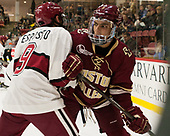 Luke Esposito (Harvard - 9), Luke McInnis (BC - 3) - The Harvard University Crimson defeated the visiting Boston College Eagles 5-2 on Friday, November 18, 2016, at Bright-Landry Hockey Center in Boston, Massachusetts.{headline] - The Harvard University Crimson defeated the visiting Boston College Eagles 5-2 on Friday, November 18, 2016, at Bright-Landry Hockey Center in Boston, Massachusetts.