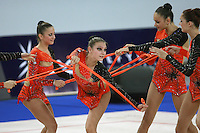 September 23, 2007; Patras, Greece;  Katarina Pisetsky performs with Israel rhythmic group at 2007 World Championships Patras.  Israel qualified for 2008 Beijing Olympic Games. Photo by Tom Theobald.