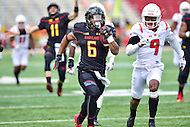 College Park, MD - NOV 26, 2016: Maryland Terrapins running back Ty Johnson (6) breaks away for a fifty yard gain during game between Maryland and Rutgers at Capital One Field at Maryland Stadium in College Park, MD. Maryland defeated Rutgers 31-13. (Photo by Phil Peters/Media Images International)