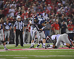 Ole Miss quarterback Randall Mackey (1) scrambles vs. Alabama at Vaught-Hemingway Stadium in Oxford, Miss. on Saturday, October 14, 2011. Alabama won 52-7.