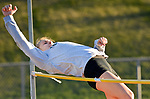 WINSTED, CT-041817JS13- Lewis Mills' Morgan Sederquist clears 5'6&quot; to win the high jump  during their meet  with Gilbert and Litchfield Tuesday at Northwest Regional High School in Winsted. <br /> Jim Shannon Republican-American