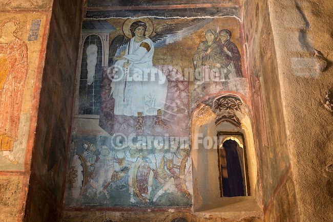 """Famous and historic White Angel fresco within the church at the Monastery Mileseva, Serbia originally built in the early 13th century. Frescoe of """"Holy Chrism Bearers at the tomb"""", aka The White Angel (of Mile?iva), depicting the Angel Gabriel over the empty tomb of Jesus after rising to heaven...One of the finest examples of Serbo-Bizantine frescoe and artworks from the 13th century European middle ages ...The White Angel was the first image broadcast via the first satellite transmission via Telstar from the east to the west, Europe to America as a gesture of peace and civilization right after the Cuban Missile Crisis of 1962. ..The same image was also broadcast to deep space as a communication to any extraterrestrial life that may be out in the universe."""