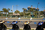 April 21, 2009. Myrtle Beach, SC.. After years of hosting hundreds of thousands of bikers for the annual Bike Week and Black Bike Week rallies, the city council of Myrtle Beach has passed new motorcycle laws to try and put an end to the rallies and promote a more family oriented experience. Many local business owners are outraged at the loss off revenue and the ordinances are to be challenged in court.. Scooters and Cycles, a shop in downtown Myrtle Beach that sells and rents, is across from one of the many mini golf courses that offer more family oriented fun. The motorcycle business is already down and the owners worry that the new rules will only hurt business more.