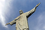 South America, Brazil, Rio de Janeiro. Christ the Redeemer landmark monument on Corcovado overlooking the city of Rio de Janeiro.